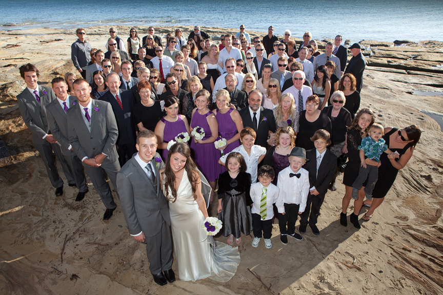 Dodges Ferry Wedding photography. Wedding photography Dodges Ferry, Tasmania- Whole group photograph on the the beach