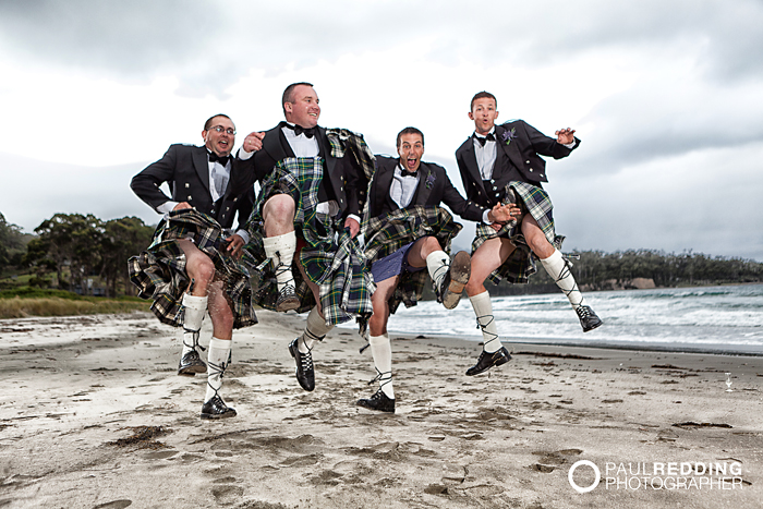 Wedding photography at Eaglehawk Neck Tasmania by Hobart wedding photographer Paul Redding