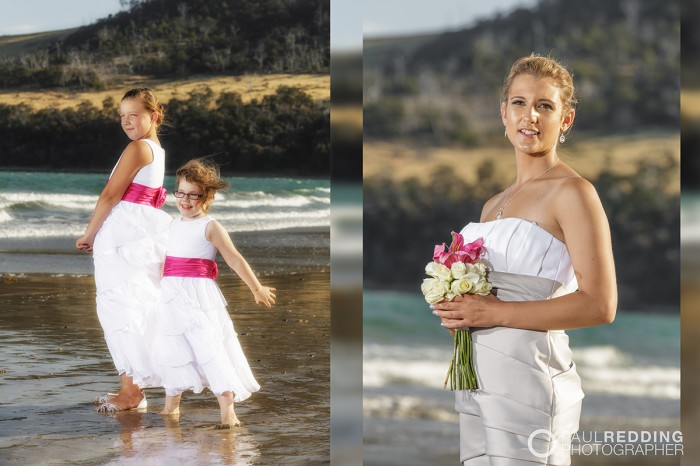 Beach wedding photography Hobart Tasmania by Paul Redding, beach wedding photographer Hobart