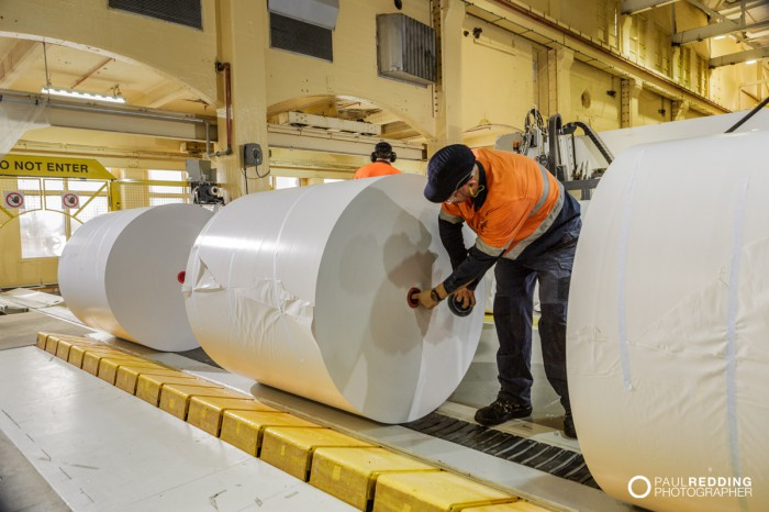 Coated paper product off winder | Norske Skog Paper Mill Boyer PM2 Conversion - Paul Redding , Paper Mill Photographer Tasmania