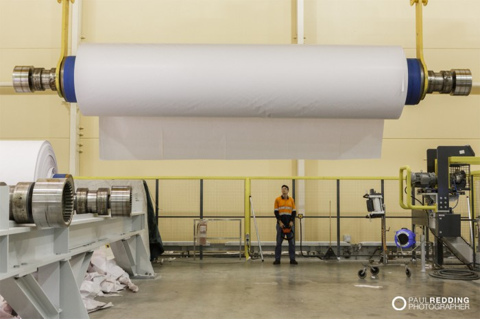 Coated paper product on roll | Norske Skog Paper Mill Boyer PM2 Conversion - Paul Redding , Paper Mill Photographer Tasmania