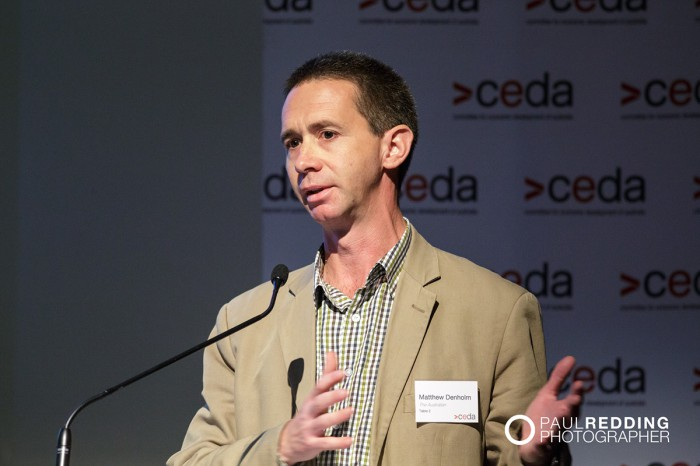 Matthew Denholm- Tasmanian Correspondent, The Australian. CEDA- Economic and Political Overview 2014 by Paul Redding - Hobart Conference Photographer