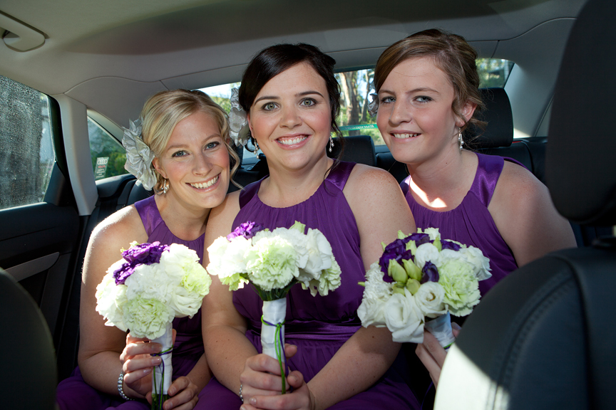 Dodges Ferry Wedding photography. Wedding photography Tasmania - Bridesmaids leaving for the ceremony