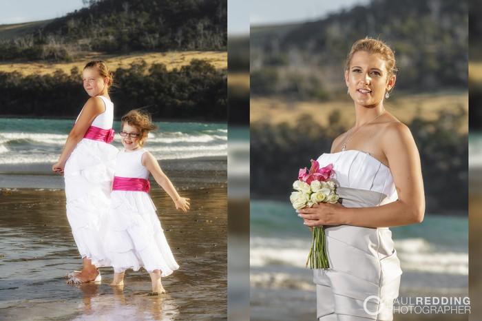Beach wedding photography Hobart Tasmania by Paul Redding, beach wedding photographer Hobart