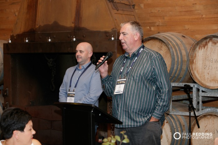Candid guest photo. Insurance Advisernet Australia Conference 2015. Frogmore Creek Winery. Pre Conference Welcome Dinner Photography by Paul Redding, Hobart Conference Photographer.