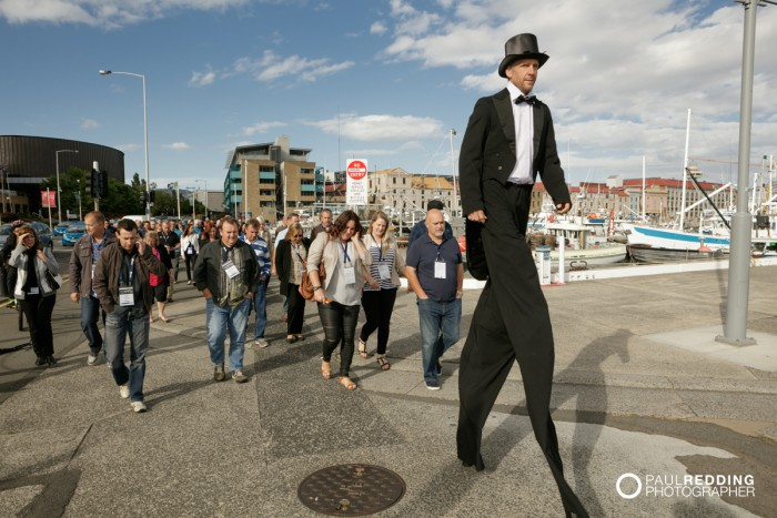 60- Walking train , Candid group at Insurance Advisernet Australia Conference 2015 - Trade Show at Princes Wharf No 1 Shed. Photography by Paul Redding, Hobart Trade Show Photographer.